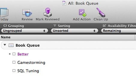 Book Queue in OmniFocus